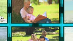 3d cube with videos about family Stock Footage