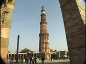 Stock Video Footage of Qutb Minar Tower Delhi India