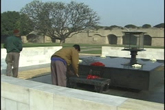 Raj Ghat, Delhi, India, Memorial to Mahatma Gandhi Stock Footage