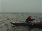 Stock Video Footage of Boat on the Ganges River at Dawn, Varanasi, India