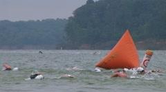 Swimmers Racing In Triathlon 02 Stock Footage