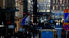 Scandinavia Finland Helsinki street scene at Alexandersgatan street Stock Footage