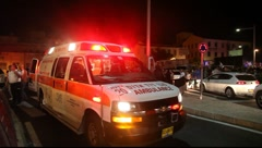 Ambulance evacuation of wounded person Stock Footage