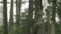 Tombstones in the Rain Stock Footage