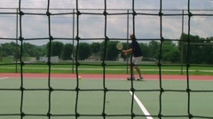 Tennis Player Volleys 03 Stock Footage