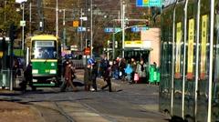 Scandinavia Finland Helsinki train station downtown traffic Stock Footage