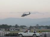 Black Hawk over Port-au-Prince Stock Footage