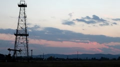 HD Fossil Fuel Energy, Oil Pump, Pumpjack, Old Pumping Unit, Jack Pump, Sunset - stock footage