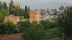Stock Video Footage of Granada Alhambra view of walls