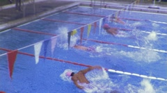 Swimmers Race Competition Swim Meet Athletes 1970s Vintage Film Home Movie 461 Stock Footage