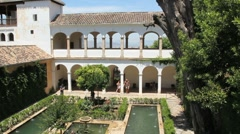 Spain Andalucia Alhambra Generalife pools Stock Footage