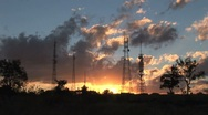 Stock Video Footage of Sunrise Timelapse - City 4 - Communication towers
