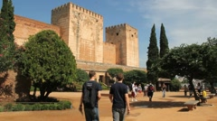 Spain Andalucia Alhambra notched towers and square Stock Footage