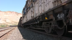 Grafiti on a train in the desert - stock footage