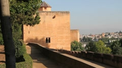 Spain Andalucia Alhambra peach colored wall Stock Footage