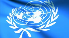United Nations Day flag white background Stock Footage