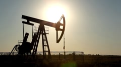 Stock Video Footage of HD Fossil Fuel Energy, Oil Pump, Pumpjack, Old Pumping Unit, Jack Pump, Sunset