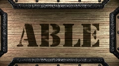able on wooden stamp - stock footage