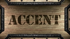 accent on wooden stamp - stock footage