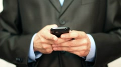 Businessman using mobile phone - stock footage