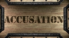accusation on wooden stamp - stock footage
