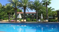 Luxurious hotel in Turkey with pool and palm trees Stock Footage