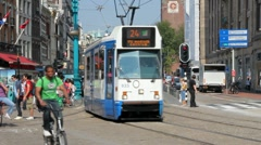 Tram in Amsterdam, Holland Stock Footage