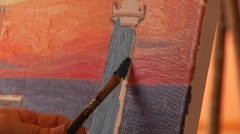 Close Up Paint Brush Painting Lighthouse - stock footage