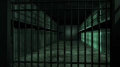 Prison Cell Block Animation Stock Footage
