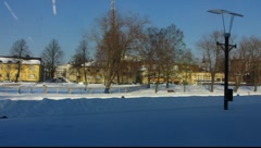 UNESCO Scandinavia Finland Rauma old town winter snow scene Stock Footage