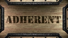 Adherent on wooden stamp Stock Footage