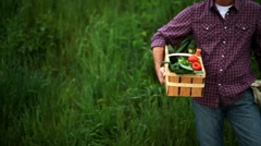 Portrait of a smiling farmer holding vegetables basket - stock footage