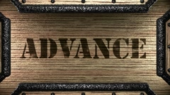 advance on wooden stamp - stock footage