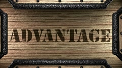 advantage on wooden stamp - stock footage