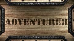 Adventurer on wooden stamp Stock Footage