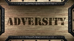 Adversity on wooden stamp Stock Footage