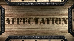 Affectation on wooden stamp Stock Footage