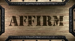 affirm on wooden stamp - stock footage