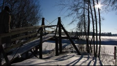 Scandinavia Finland Finnish hanging bridge Stock Footage