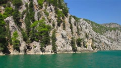 A view into the canyon in the Taurus mountains from riding boat Stock Footage
