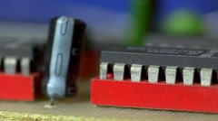Slow track along electronic components, shallow DOF Stock Footage