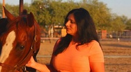 Stock Video Footage of Brunette woman and her horse close ups - 3