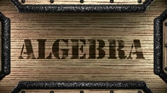 Algebra on wooden stamp Stock Footage