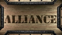 Alliance on wooden stamp Stock Footage