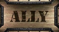 ally on wooden stamp - stock footage