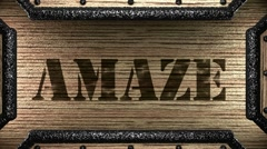 Amaze on wooden stamp Stock Footage