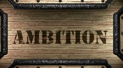 Stock Video Footage of ambition on wooden stamp