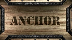Anchor on wooden stamp Stock Footage