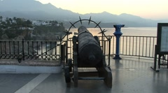 Spain Nerja cliffs antique cannon Stock Footage