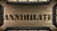 Annihilate on wooden stamp Stock Footage